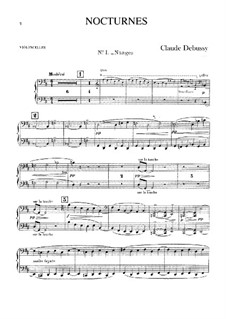 Three Nocturnes, L.91: Cello part by Claude Debussy