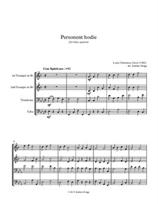Personent Hodie (early Latin Carol): For brass quartet by Unknown (works before 1850)