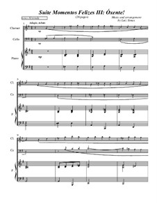 Momentos Felizes Suite: Part III - 'Óxente' - full score for piano, cello, clarinet by Luiz Simas
