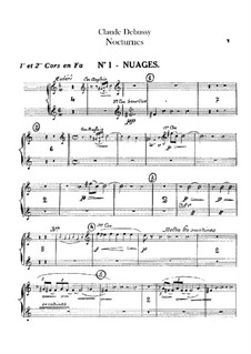 Three Nocturnes, L.91: French horn parts by Claude Debussy