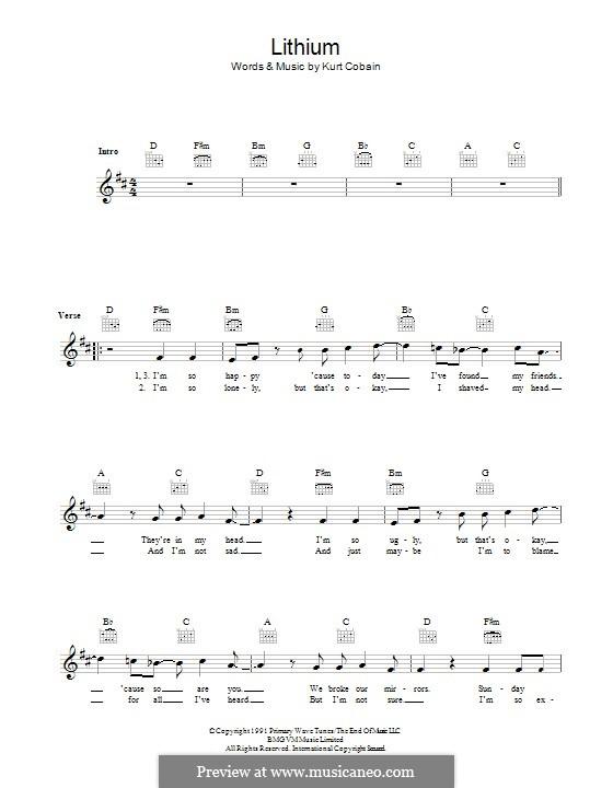 Lithium (Nirvana) by K. Cobain - sheet music on MusicaNeo