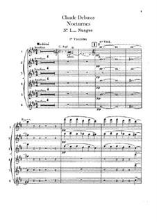 Three Nocturnes, L.91: Violins I parts by Claude Debussy
