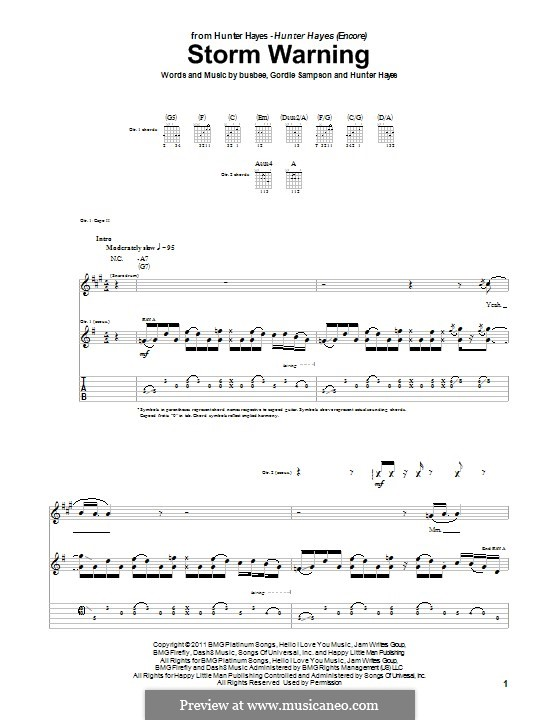 Storm Warning: For guitar with tab by Busbee, Gordie Sampson, Hunter Hayes