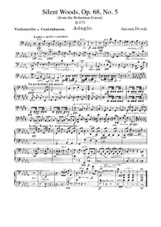 From the Bohemian Forest, B.133 Op.68: No.5 Klid (Silent Woods), for Orchestra – Cello and Double Bass Part by Antonín Dvořák