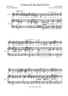 If music be the food of love: For low voice and piano by Henry Purcell