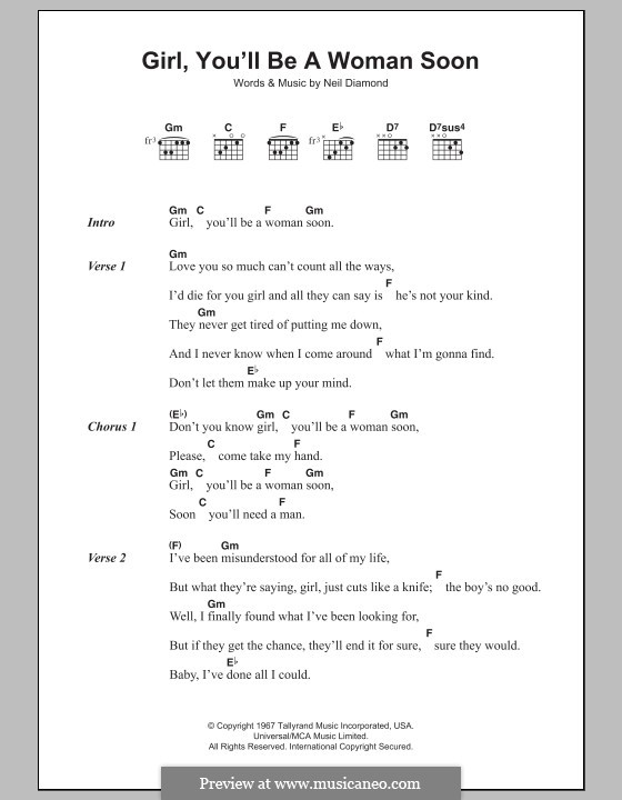 Girl, You\'ll Be a Woman Soon by N. Diamond - sheet music on MusicaNeo