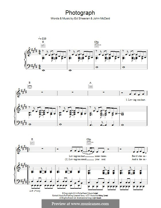 Photograph: For voice and piano (or guitar) by Ed Sheeran, John McDaid