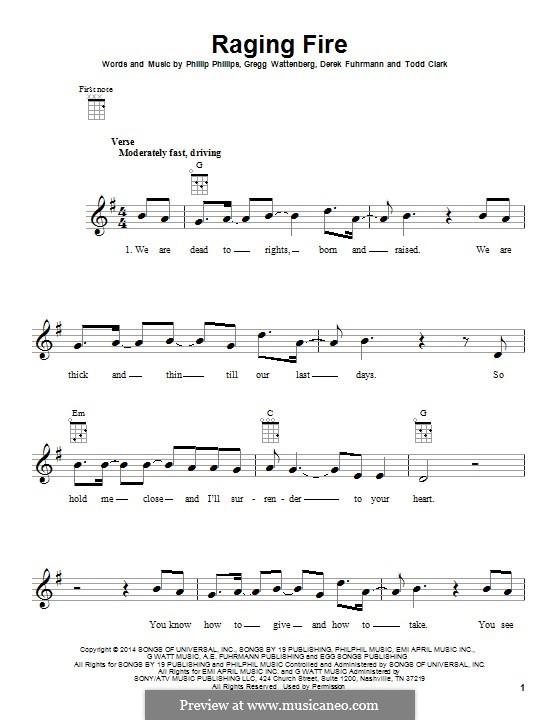 Raging Fire: For ukulele by Gregg Wattenberg, Phillip Phillips, Derek Fuhrmann, Todd Clark