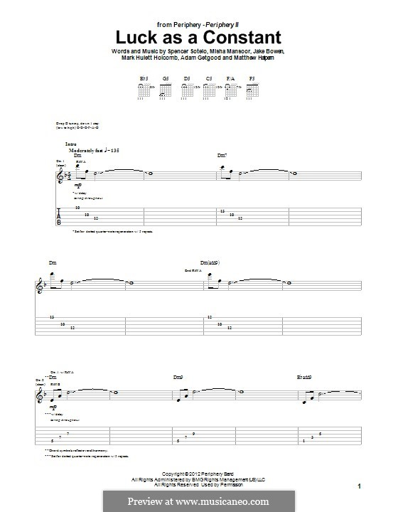 Luck as a Constant (Periphery): For guitar with tab by Adam Getgood, Jake Bowen, Mark Hulett Holcomb, Matthew Halpern, Misha Mansoor, Spencer Sotelo