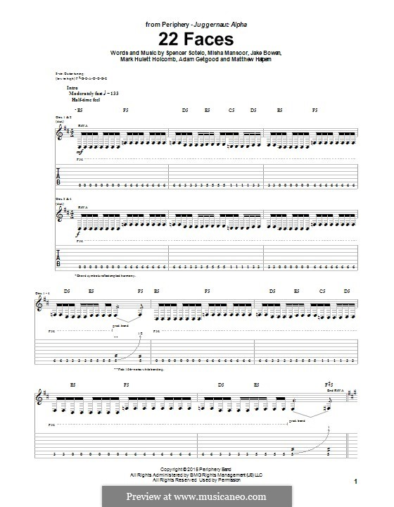 22 Faces (Periphery): For guitar with tab by Adam Getgood, Jake Bowen, Mark Hulett Holcomb, Matthew Halpern, Misha Mansoor, Spencer Sotelo