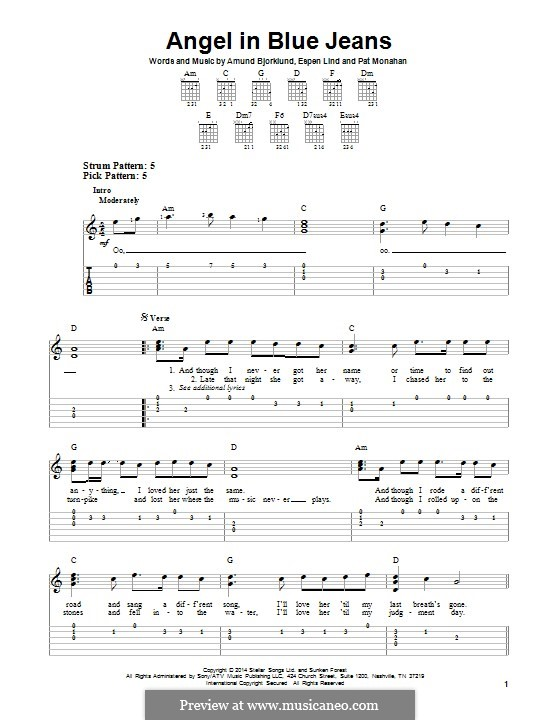 Angel in Blue Jeans (Train): For guitar with tab by Amund Bjorklund, Espen Lind, Patrick Monahan