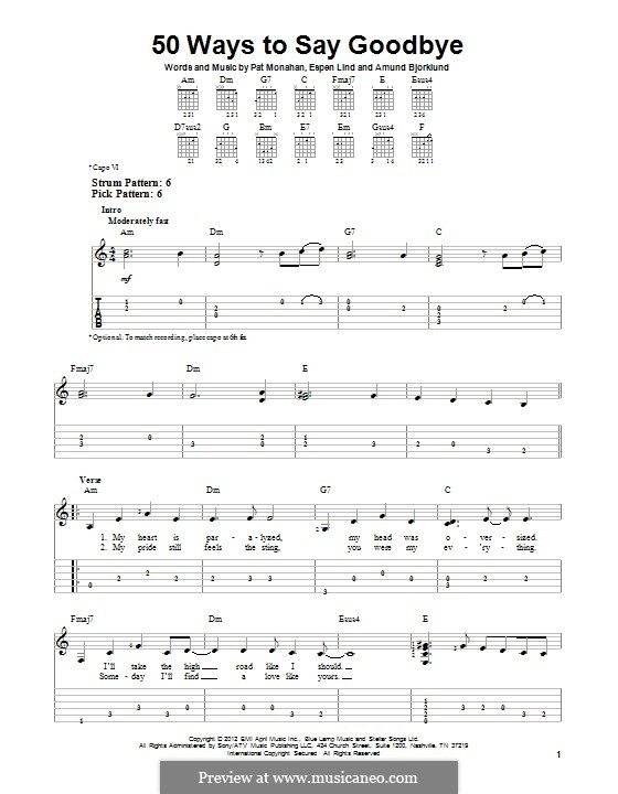 50 Ways to Say Goodbye (Train): For guitar with tab by Amund Bjorklund, Espen Lind, Patrick Monahan