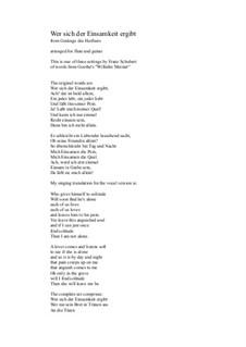 No.1 Wer sich der Einsamkeit ergibt: For flute and guitar by Franz Schubert