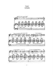Three Songs, Op.6: No.1 Aubade (for high voice and piano) by Gabriel Fauré