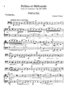 Pelléas et Mélisande, Op.80: Cellos part by Gabriel Fauré