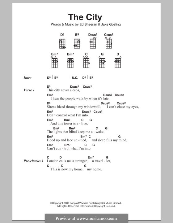 The City: For ukulele by Ed Sheeran, Jake Gosling