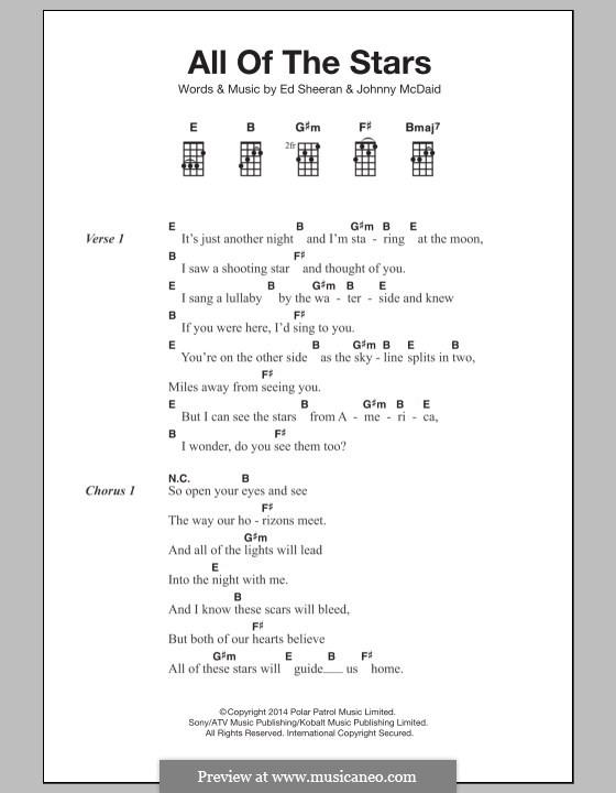 All of the Stars: For ukulele by Ed Sheeran, John McDaid
