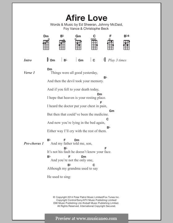 Afire Love: For ukulele by Ed Sheeran, Christophe Beck, John McDaid, Foy Vance