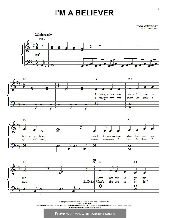 I'm a Believer: For piano by Neil Diamond