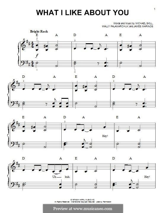 What I Like About You (The Romantics): For piano by James Marinos, Michael Skill, Wally Palamarchuk