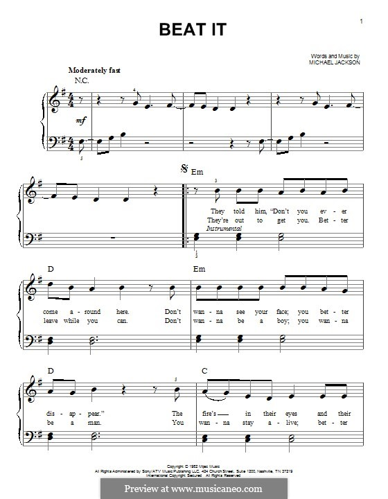 Beat It: For piano by Michael Jackson