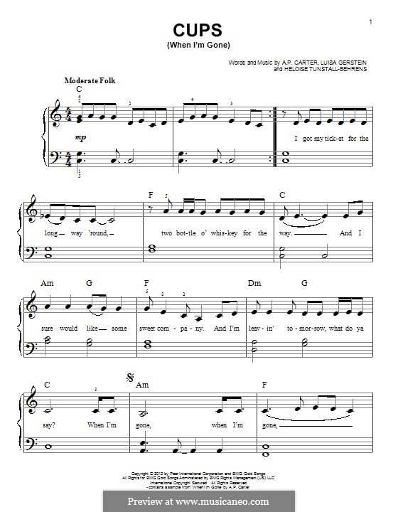 Cups (When I'm Gone): For piano by A.P. Carter, Luisa Gerstein, Heloise Tunstall-Behrens