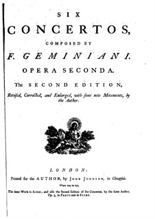 Six Concertos for Strings and Basso Continuo, Op.2: Complete set –  parts by Francesco Geminiani