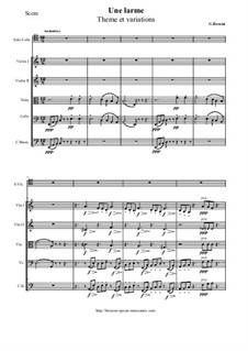 Une larme. Theme et variations for Cello and String orchestra: Score and all parts by Gioacchino Rossini