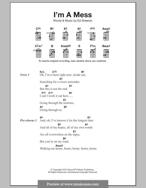 I'm a Mess: For ukulele by Ed Sheeran