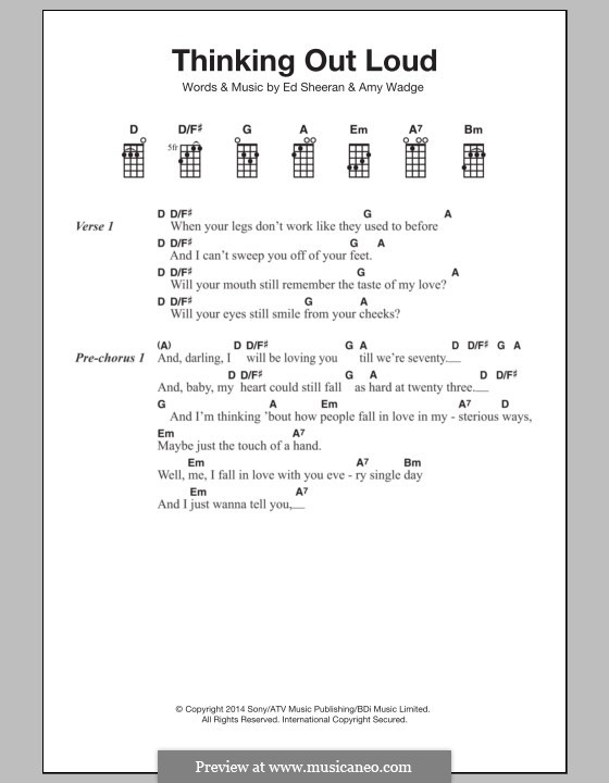 Thinking Out Loud: For ukulele by Ed Sheeran, Amy Wadge