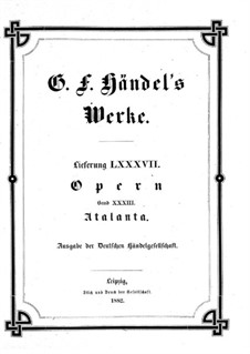 Atalanta, HWV 35: Full score by Georg Friedrich Händel