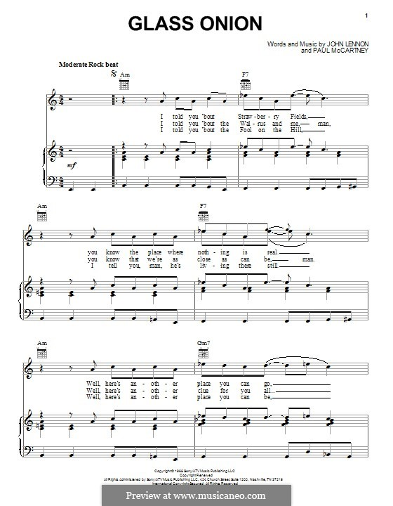 Glass Onion (The Beatles): For voice and piano (or guitar) by John Lennon, Paul McCartney