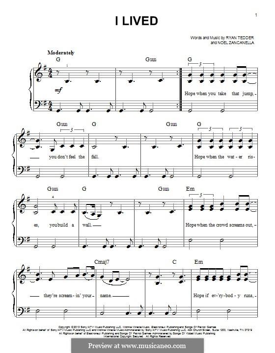 I Lived (OneRepublic): For piano by Noel Zancanella, Ryan B Tedder