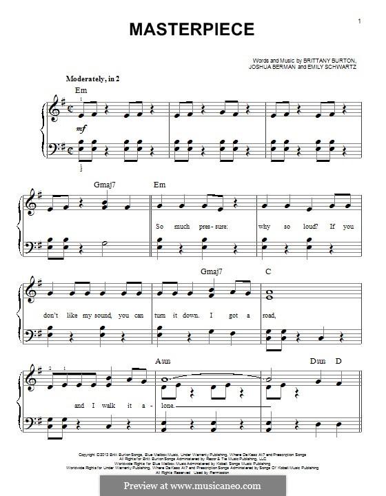 Masterpiece (Jessie J): For piano by Joshua Berman, Brittany Burton, Emily Schwartz