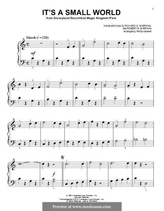 It's a Small World (from Disneyland Park and Magic Kingdom Park): For piano by Richard M. Sherman, Robert B. Sherman