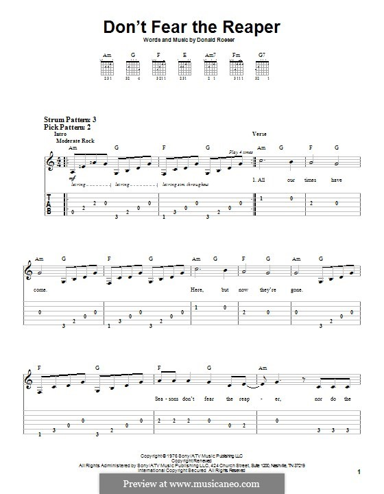 Don't Fear / The Reaper (Blue Oyster Cult): For guitar with tab by Donald Roeser