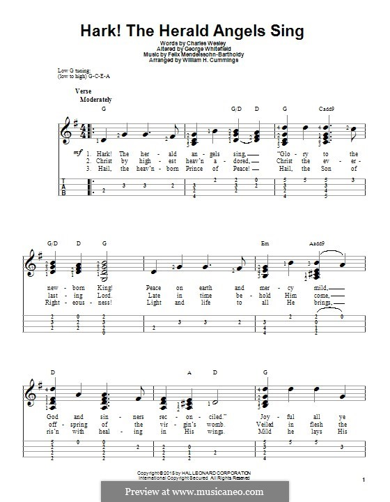 Hark! The Herald Angels Sing, for Solo Instrument: For ukulele by Felix Mendelssohn-Bartholdy