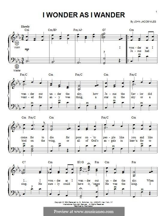 I Wonder as I Wander: For accordion by John Jacob Niles