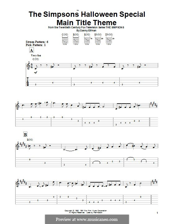 Theme from The Simpsons: For guitar with tab by Danny Elfman