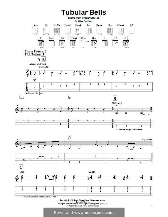 Tubular Bells (from The Excorcist): For voice and piano (or guitar) by Mike Oldfield