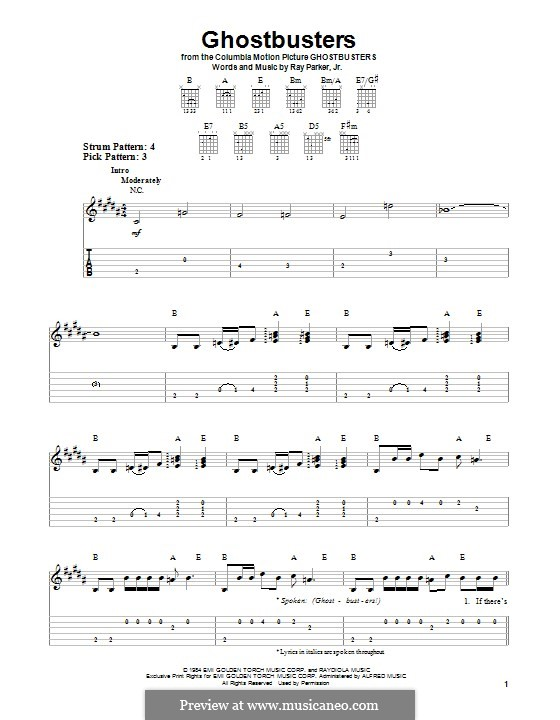 Ghostbusters: For voice and piano (or guitar) by Ray Parker