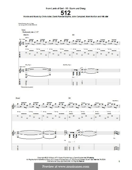 512 (Lamb of God): For guitar with tab by Chris Adler, David Blythe, John Campbell, Mark Morton, Will Adler