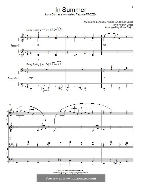 In Summer: For piano by Robert Lopez, Kristen Anderson-Lopez
