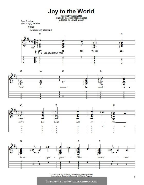 Joy to the World (Printable Scores): For ukulele by Georg Friedrich Händel