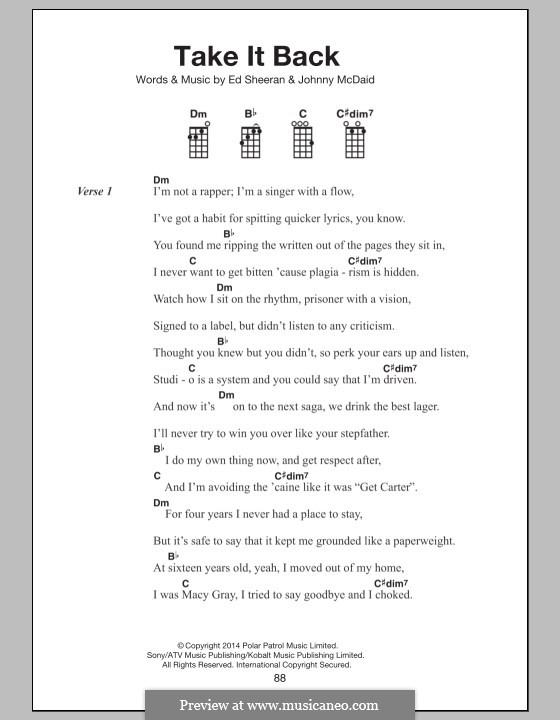 Take It Back: For ukulele by Ed Sheeran, John McDaid
