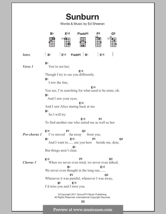 Sunburn: For ukulele by Ed Sheeran