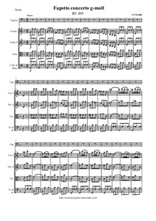Concerto for Fagotto and Strings in G Minor, RV 495: Score and all parts by Antonio Vivaldi