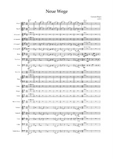 New ways - symphonic orchestral work with acoustic E. guitar, drums, percussion, piano, wood and brass and strings: Score, Op.04061 by Carmen Hoyer