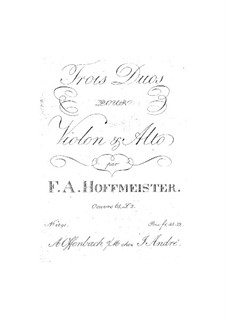 Six Duets for Violin and Viola, Op.65: No.4-6 – parts by Franz Anton Hoffmeister