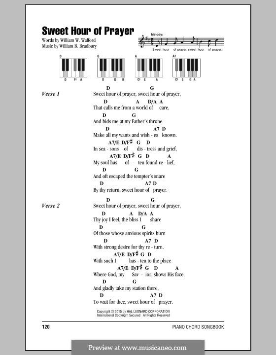 Sweet Hour of Prayer: Lyrics and chords by William Batchelder Bradbury